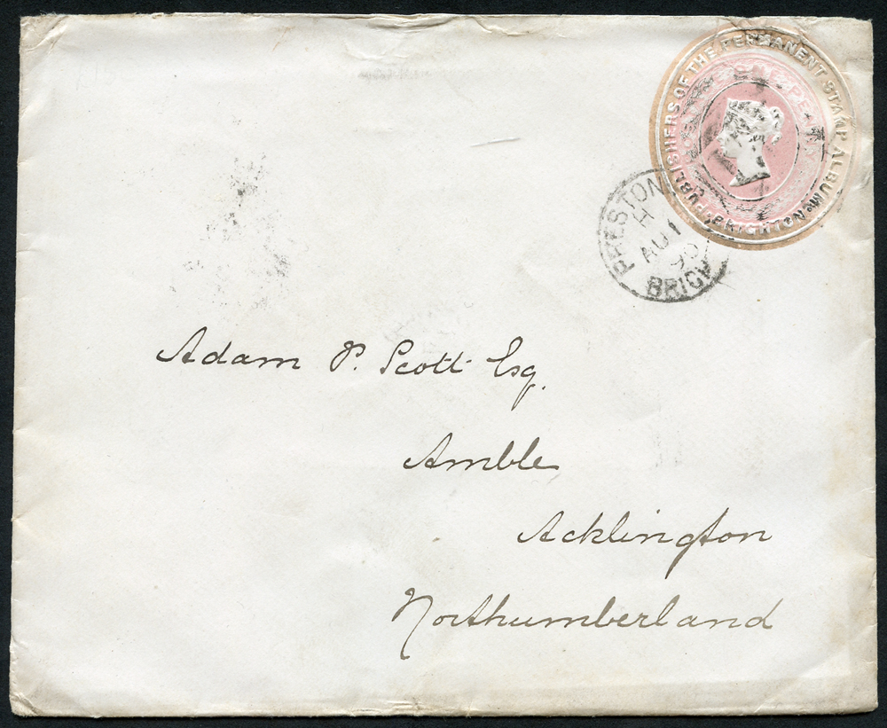 1890 1d pink stationery envelope from Brighton to Acklington, Northumberland with advertising ring