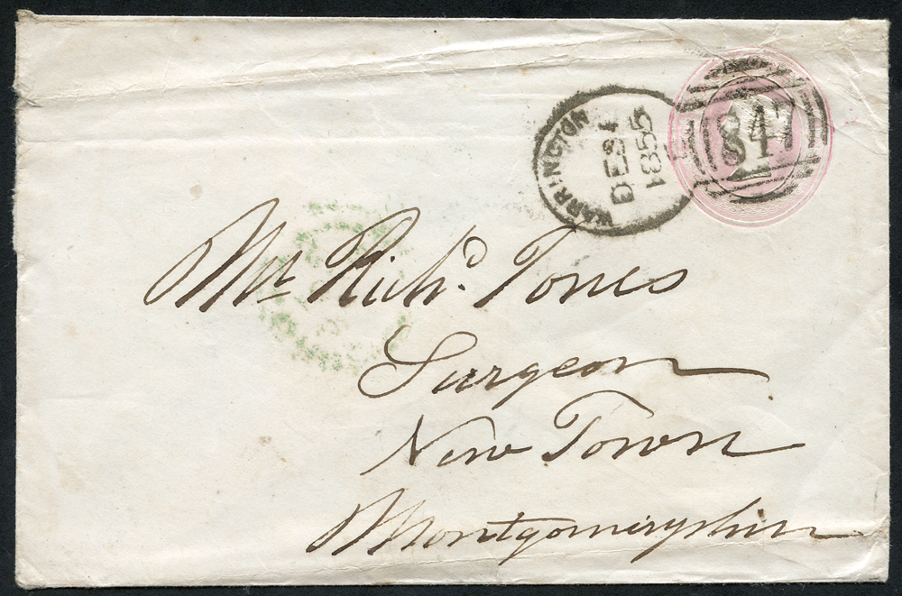1855 1d pink envelope from Warrington to Montgomeryshire cancelled by a Warrington spoon for Dec 31st 1855