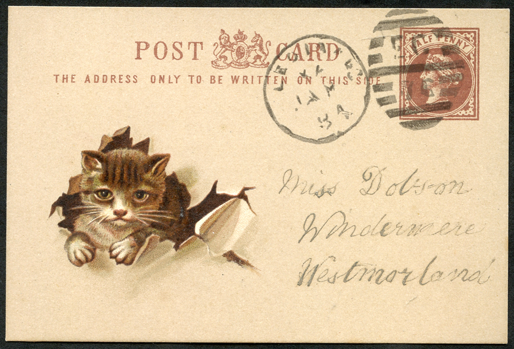 c1880 small reproduction ½d brown Queen Victoria Post Card with fascimile postmark & address