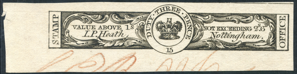 1805 I.P HEATH 3d Medicine Duty Stamp