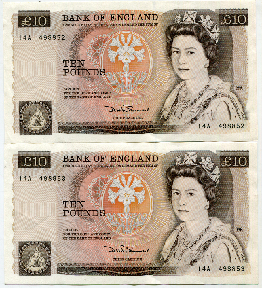 1980 Somerset £10 brown (Nightingale), two consecutive numbers, EF+