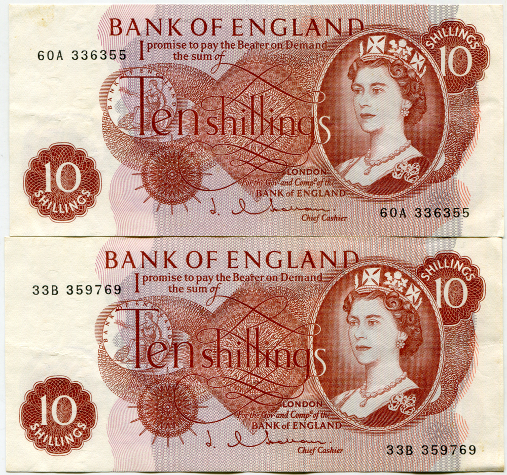 1963 Hollom 10s red-brown x2, A/UNC