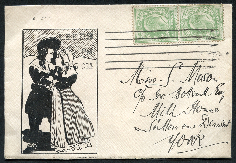 1909 envelope from Leeds to York, franked ½d, Edward vertical pair
