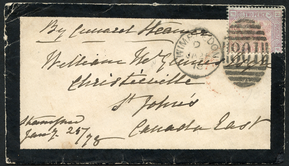 1878 Mourning envelope to St Johns, Canada East, franked 2½d rosy marine