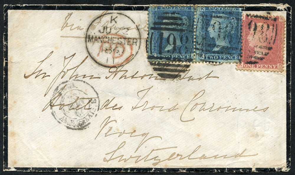 1886 Mourning envelope from Manchester to Switzerland franked 1d red & 2d blue pair