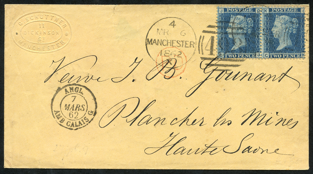 1862 cover from Manchester to Haute Saone, France, franked 2d Pl.9