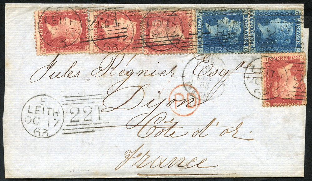 1865 cover from Leith to Paris franked 1d stars (4), 2d R.G (2)