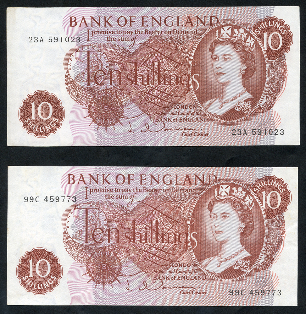 1963 Hollom 10s red-brown (2), A/UNC