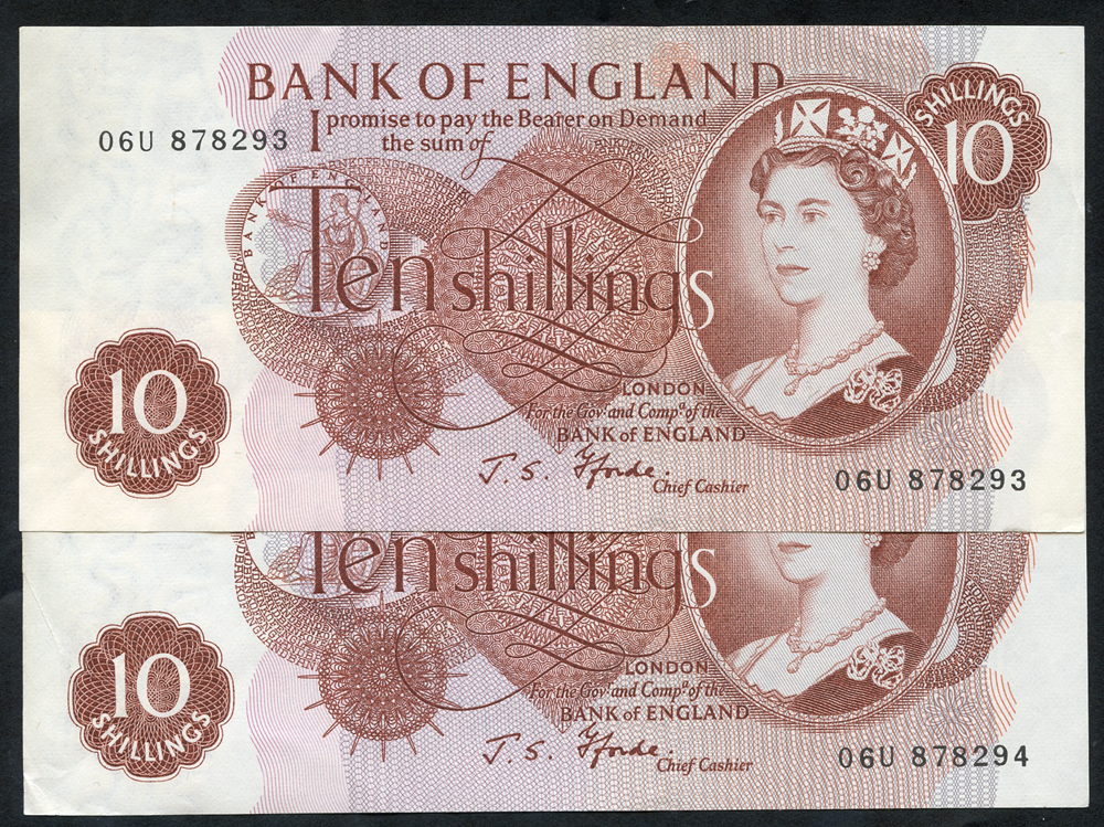1967 Fforde 10s red-brown, consecutive numbers, A/UNC