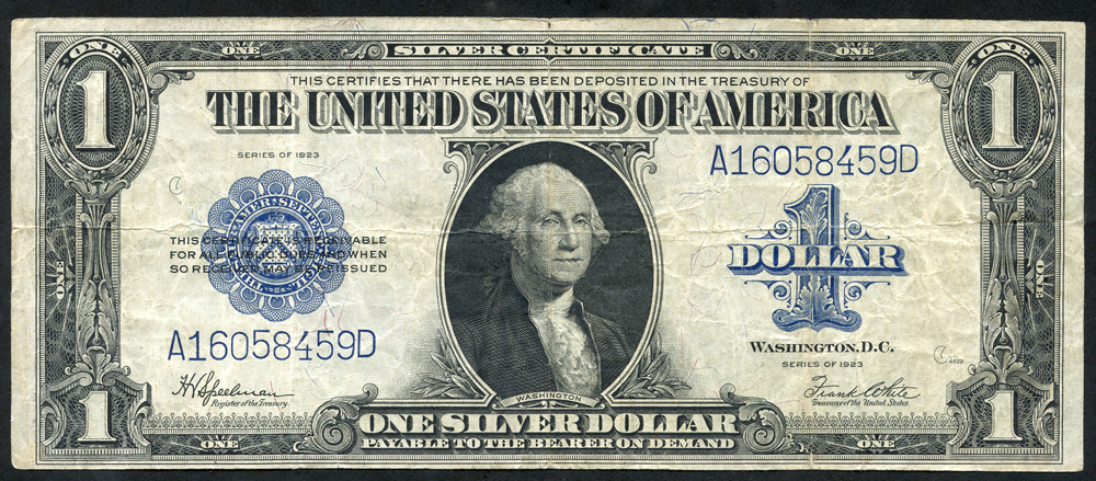 USA $1 Silver Certificate, 1923, Washington at centre, fine+.