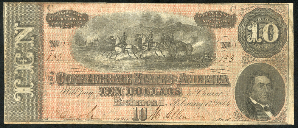 Confederate States of America $10, dated 1864,No. 133, pressed, good fine