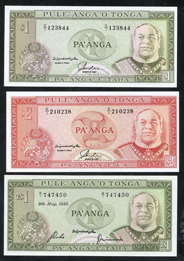 Tonga - 1985 1 pa'anga, 1992 1 pa'anga & 1992 2 pa'anga