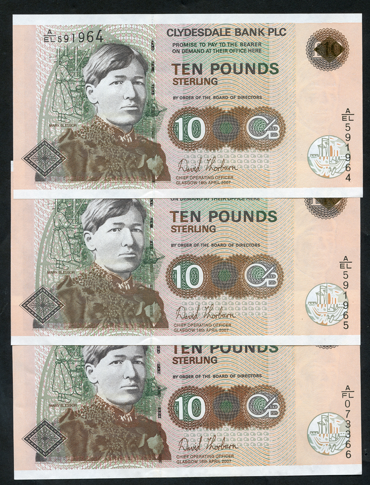 Clydesdale Bank Plc £10 (3) issues 2007, series A/FL & consectuive pair A/EL