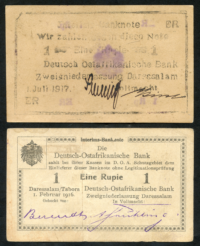 German East Africa 1 rupie, dated 1916 & 1 rupie 'Bush Note' dated 1917, about UNC to UNC