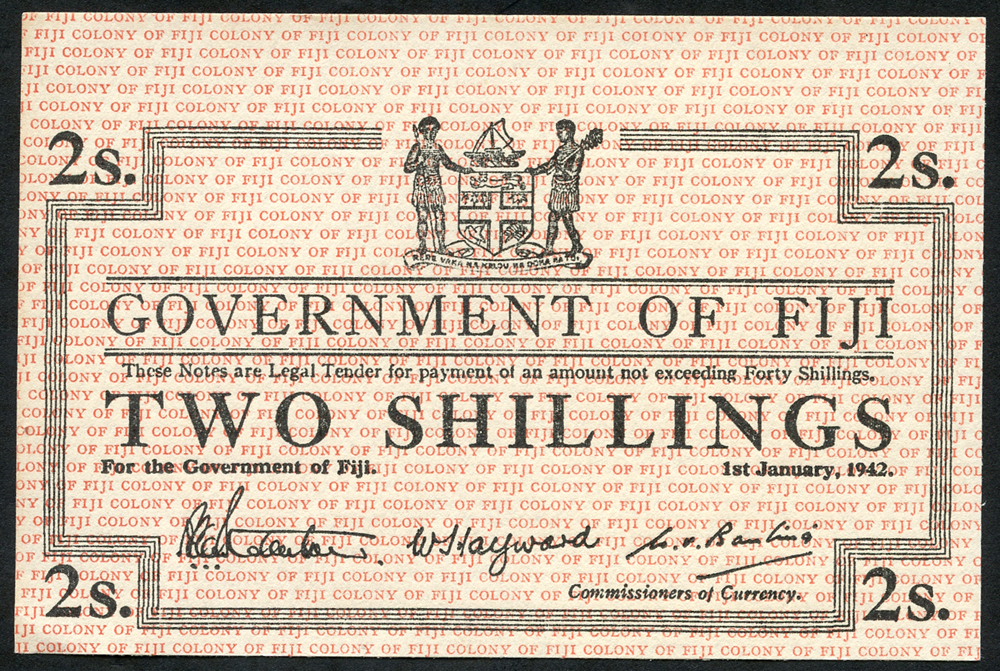 Fiji 2 shillings,dated 1942, un-issued remainder, Pick 50, about UNC to UNC