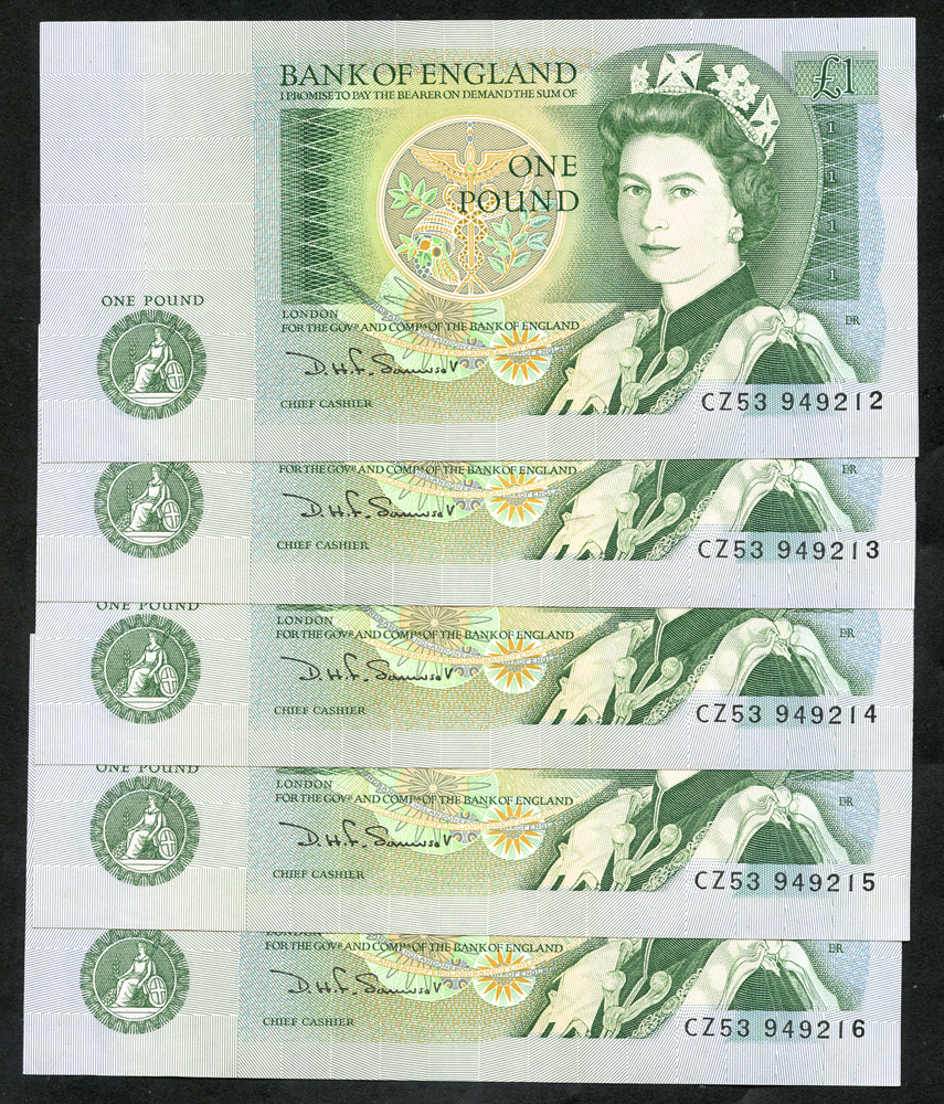1981 Somerset £1 green, consectuive run of 5, A/UNC