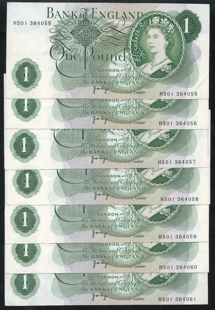 1960-79 Page £1 green, consecutive run of 7, A/UNC