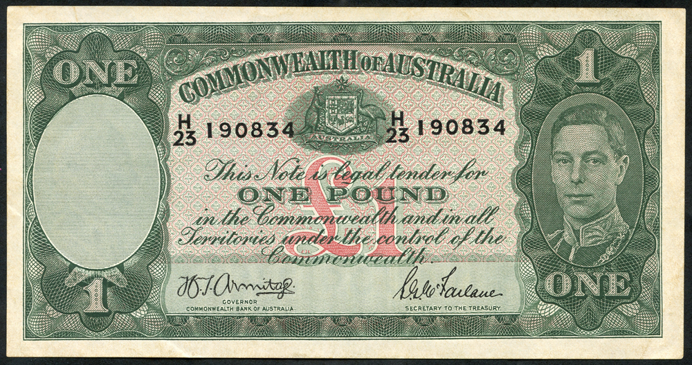 Australia £1, issued 1942, KGV portrait, GEF