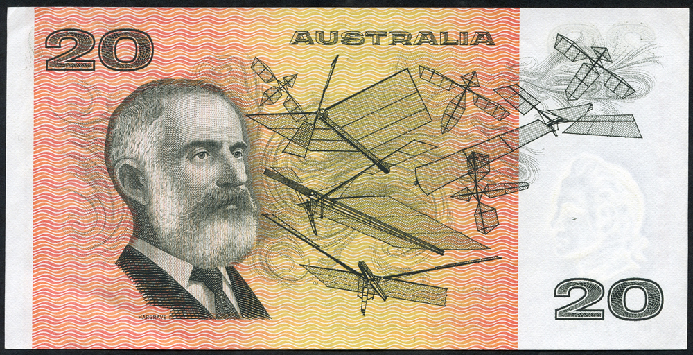 Australia $20, issued 1975, Knight & Heeler series XNF, about UNC