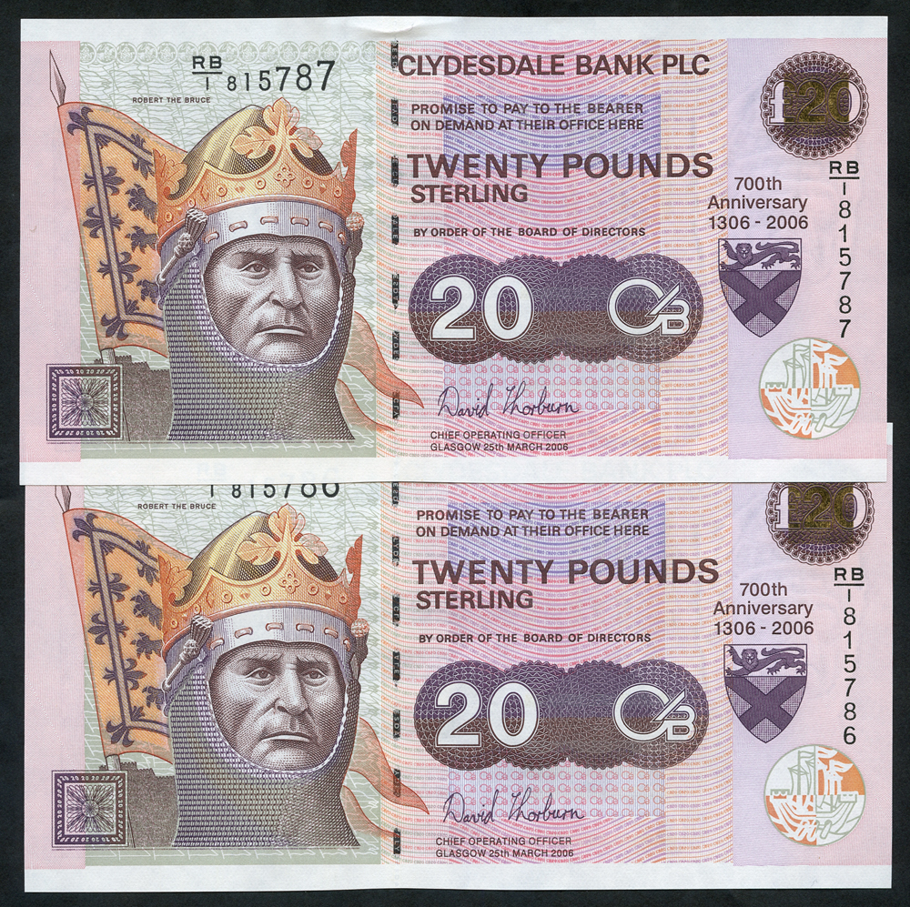 Clydesdale Bank Plc £20 (2) commemorative issue, dated 2006, series RB/1, about UNC to UNC