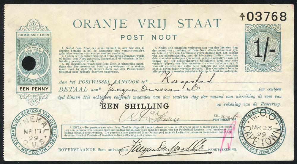 South Africa - Oranje Vrij Staat Post Noot 1 shilling, dated 1899, GVF