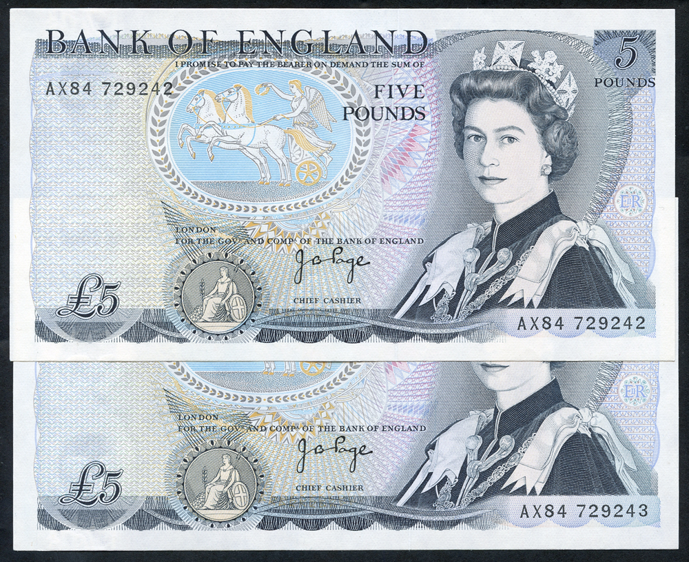 1973 Page £5 pale blue, 'L' Wellington reverse, consecutive pair, A/UNC