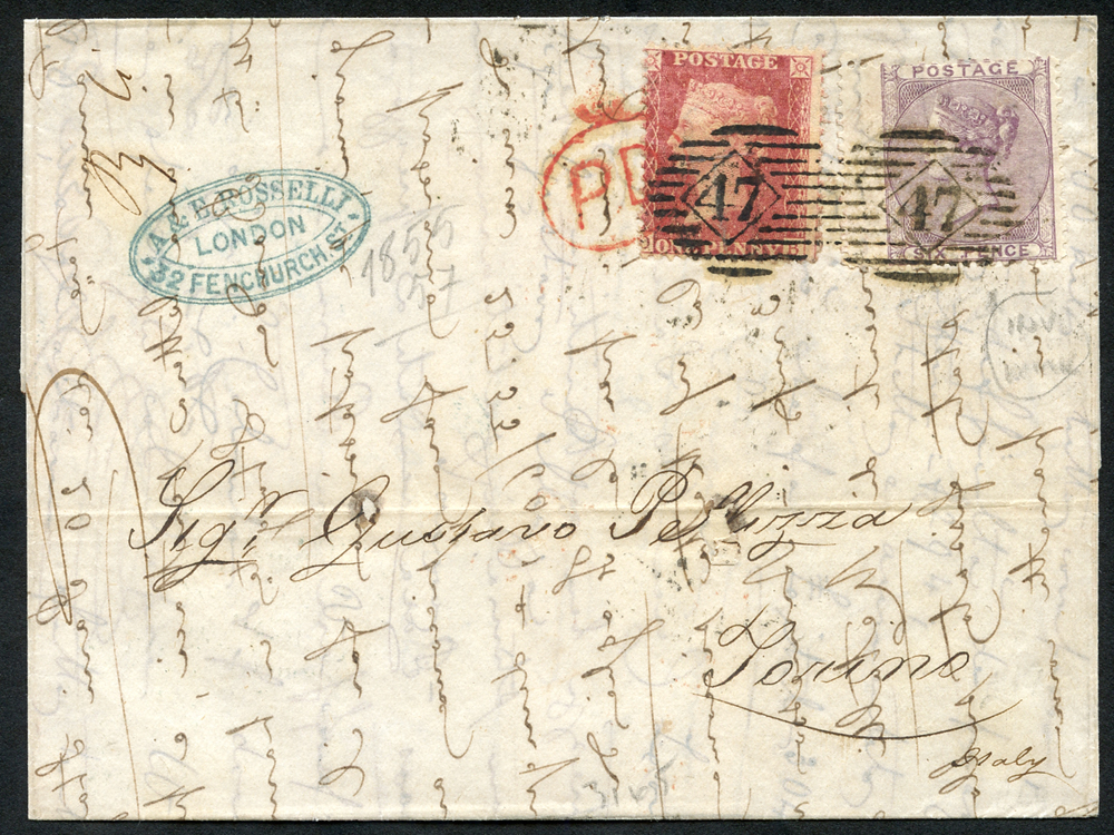 1861 cover from London to Torino franked 1d stars & 6d pale lilac WMK INVERTED SG.70wi