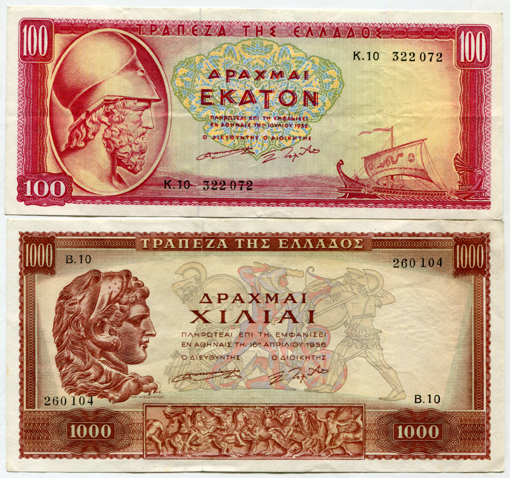 Greece 1955 - 100 drachmai (Pick 192b) & 1956 - 1000 drachmai (Pick 194a)
