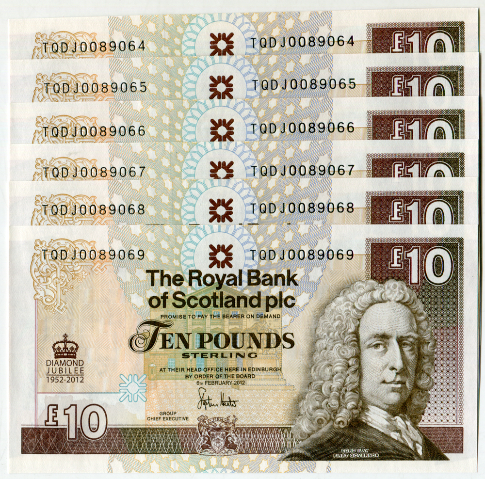 Royal Bank of Scotland PLC £10 (6) Diamond Jubilee (commemorative), consecutive numbers