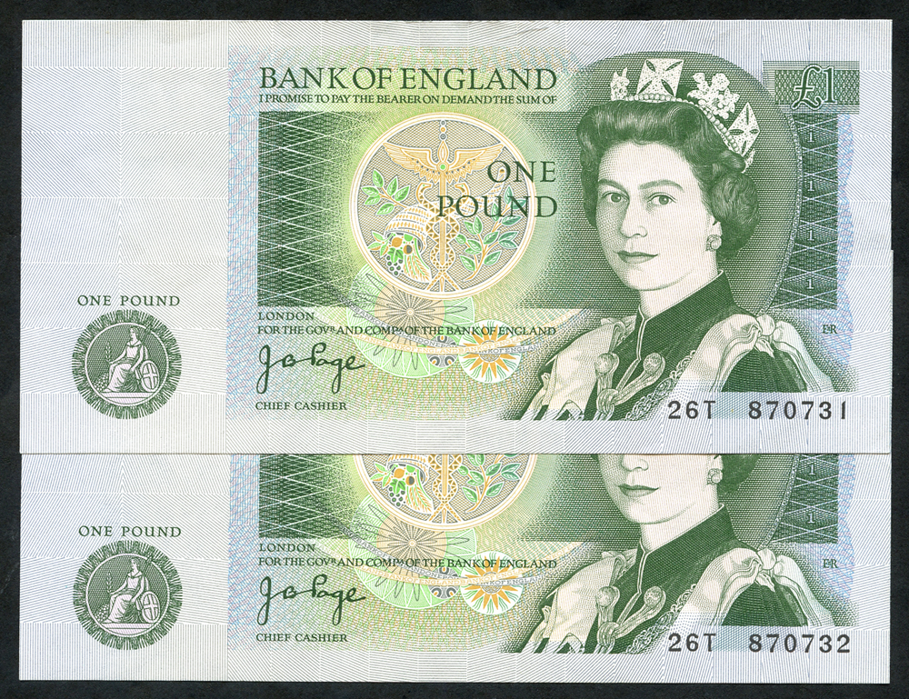 1978 Page £1 green, consecutive pair, A/UNC