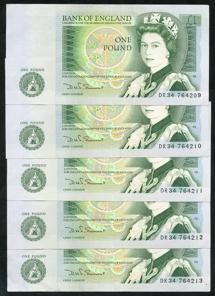 1981 Somerset £1 green, consecutive run of 5, EF+ to A/UNC