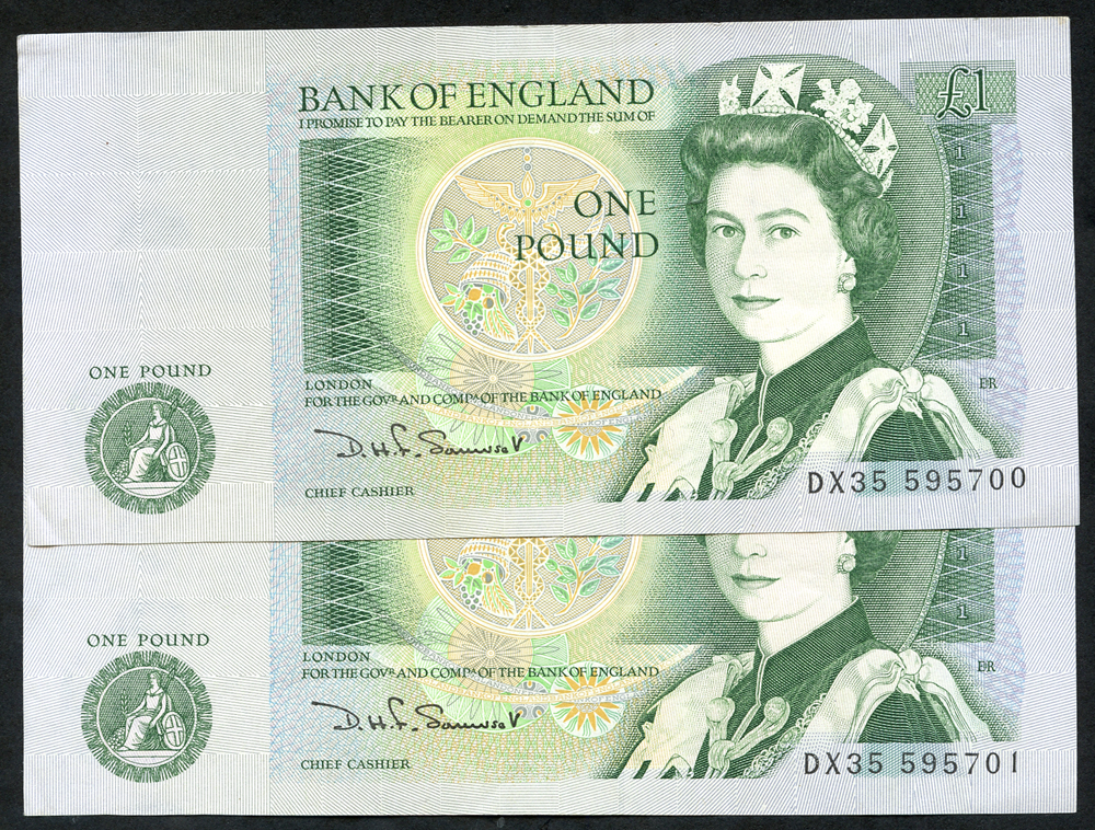 1981 Somerset £1 green, consecutive pair. A/UNC