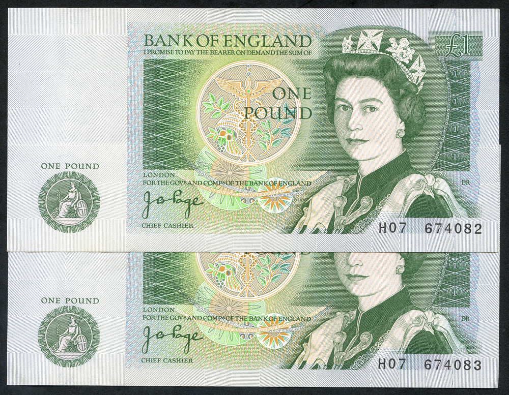 1978 Page £1 green, consecutive pair, Prefix H07, A/UNC