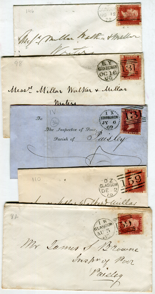 1860's-1870 envelopes (16) addresssed to Paisley - each franked 1d red (various plates)