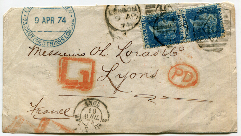 1874 cover London to Lyon, France, 2d blue Pl.14 vertical pair, tied London duplexes, late fee mark in red, transit & receiver marks