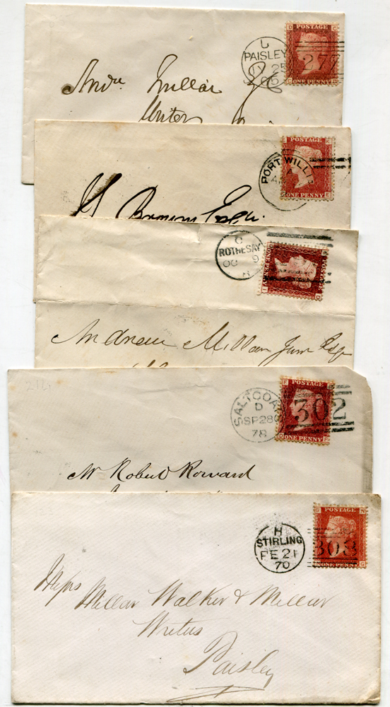 1860's-1870's envelopes (15) addressed to Paisley, each franked 1d red (various Plates) & tied by different Scots duplexes
