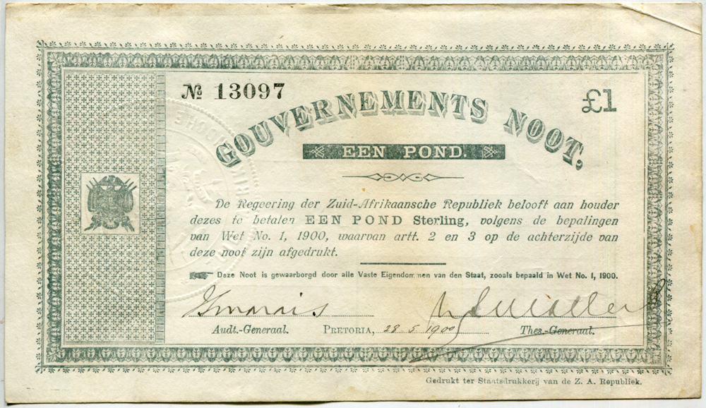South Africa - £1 Gouvernements Noot, Boer War issue, dated 1900, about EF