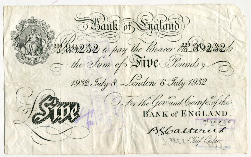 Catterns £5 white (B228), dated 8 July 1932, good fine