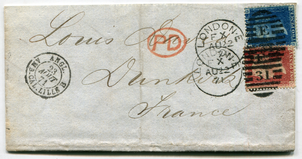 1871 cover from London to Dunkurk, France, 1d red & 2d blue, London E/31 duplexes