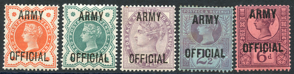 ARMY OFFICIAL 1896 ½d vermilion & ½d blue green, 1d lilac, 2½d purple/blue & 6d purple/rose red - Mint