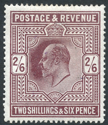 1911-13 2/6d dark purple, Unmounted Mint