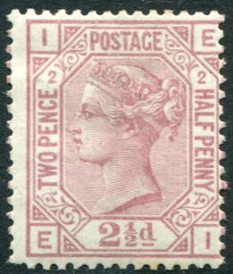 1875 Wmk Anchor 2½d rosy mauve Plate 2, fine M