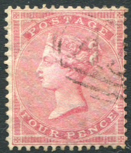 1857 Wmk Large Garter 4d rose, superb used - fine barred oval cancel