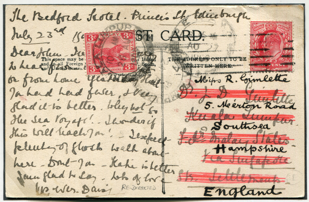 1909 postcard - England to Kuala Lumpur & returned to England, bears 1d Edward, FMS 3c Tiger, Penang transit mark