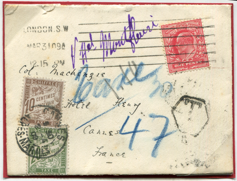 1909 envelope to Cannes, France, franked 1d Edward, London machine cancel, French 10c & 20c Dues