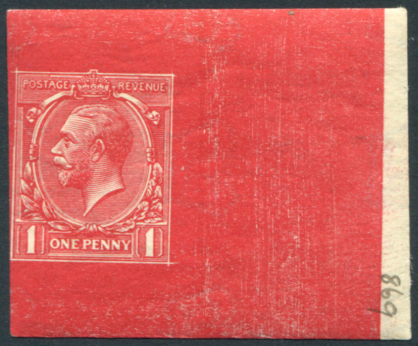 1912 1d Die Proof in scarlet from Stage 5, uncleared on white gummed, Crown wmk sideways, numbered '869' at right