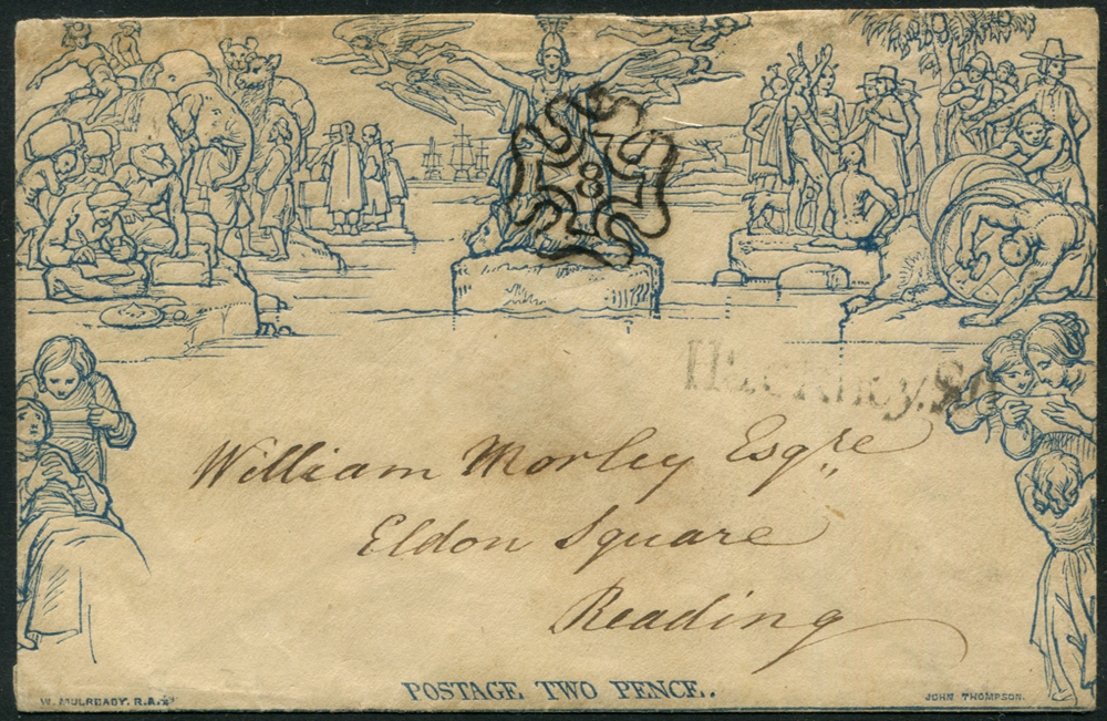 1843 Twopence Envelope to Reading despatched at Hackney, cancelled by the Number 8 in Maltese Cross