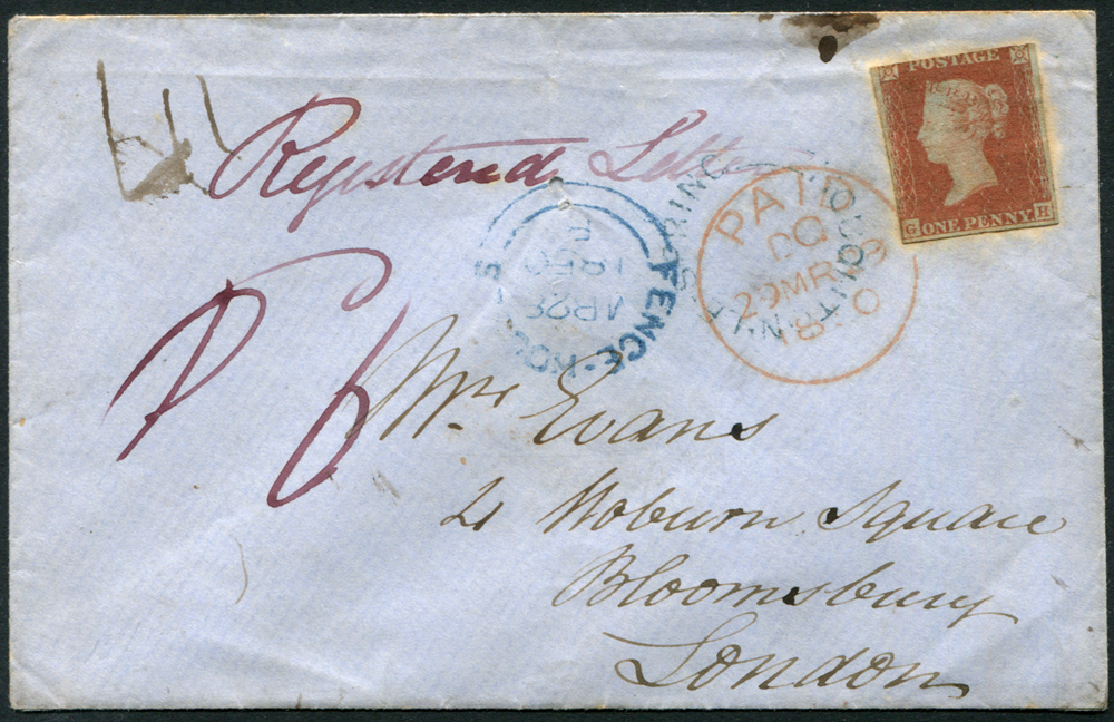 1850 1d red brown GH, three margined example on a registered envelope from Fencehouses (blue c.d.s), Houghton Le Spring (blue udc)