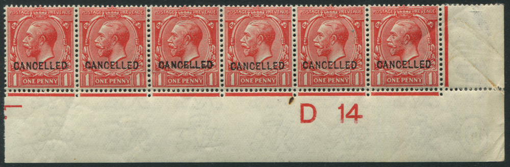 1912 1d scarlet, optd CANCELLED Type 24, corner marginal D14 Control strip of six, UM