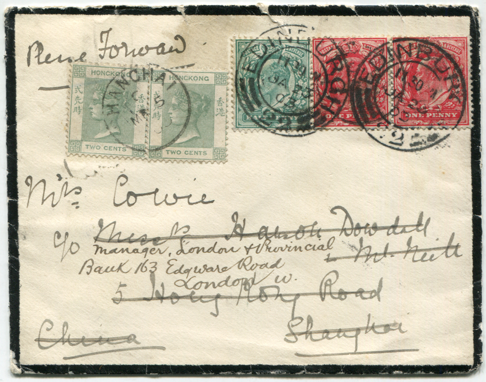 1903 mourning envelope from Edinburgh to Shanghai, franked 1902 ½d, 1d (pair), Edinburgh double ring c.d.s's & Shanghai arrival c.d.s.